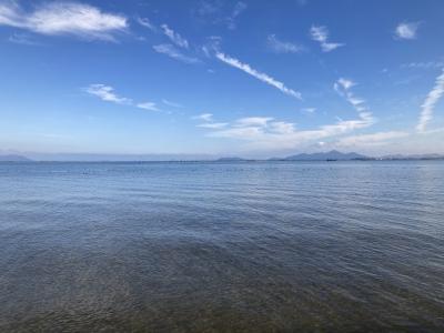 真野浜から眺めた琵琶湖北湖(12月2日11時頃)