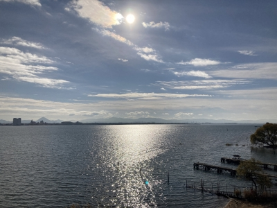 琵琶湖大橋西詰めから眺めた南湖 いい天気ですが南寄りの風が・・・(12月9日9時40分頃)