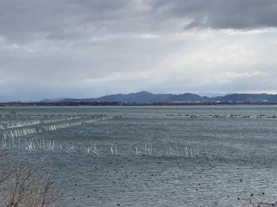 山ノ下湾から眺めた琵琶湖南湖は南寄りの強風で大荒れです(12月15日10時40分頃)