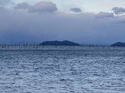 真野浜から眺めた琵琶湖北湖(1月7日16時20分頃)