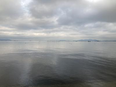真野浜から眺めた琵琶湖北湖は曇天微風のベタナギです(1月12日15時30分頃)