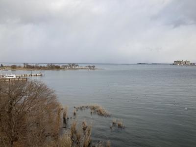堅田は朝から雪が降ったり止んだり。琵琶湖大橋西詰めから眺めた北湖は比良山も沖島も雲に隠れて見えませ〜ん(1月19日13時20分頃)