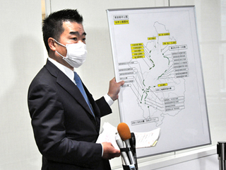 公園駐車場閉鎖について説明 来県自粛を呼び掛ける三日月知事