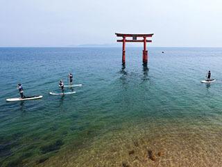白鬚神社の水中鳥居をSUPで湖上参拝