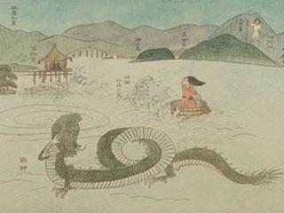 比良八荒伝説や龍神の姿が描かれた旧琵琶湖文化館所蔵の日本画「近江」