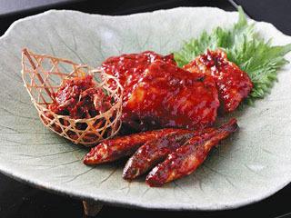ビワマス、ホンモロコ、スジエビを使った「湖魚のキムチ」