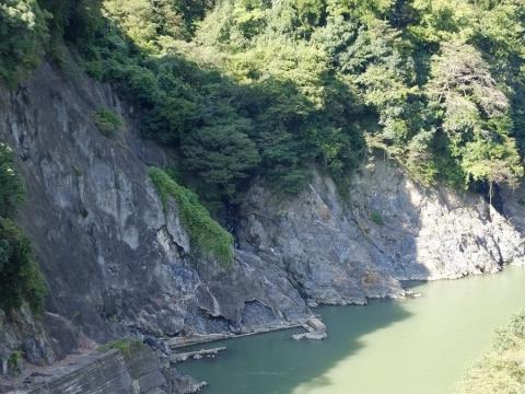 相模ダム下流左岸の岩盤