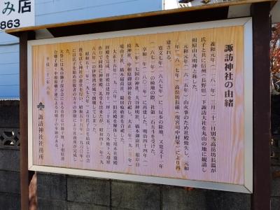 諏訪神社の由緒書き案内板