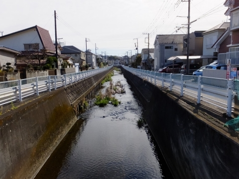 上谷橋より目久尻川下流の眺め