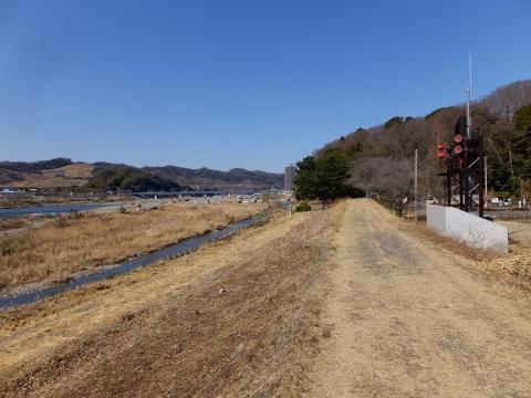 相模川左岸堤防・望地キャンプ場付近