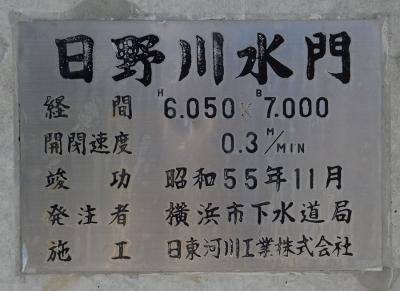 日野川水門の銘板