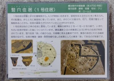 勝坂遺跡公園竪穴住居(1号住居)案内板