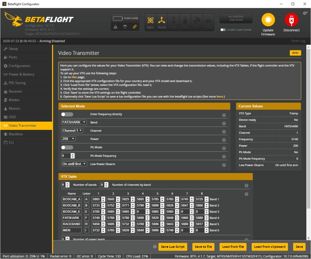 VTXテーブルの設定(Betaflight / IRC Tramp)
