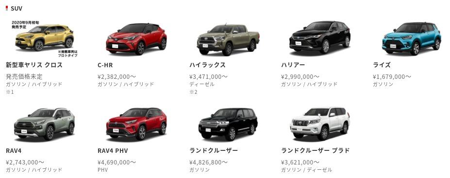 トヨタ-ラインナップ-トヨタ自動車WEBサイト