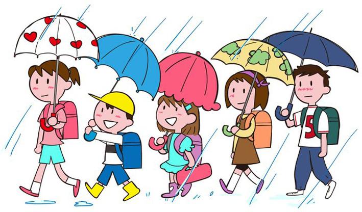 雨の分団登校