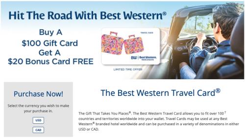 ベストウエスタン 世界中で利用できるギフトカードが20%のボーナスキャンペーン