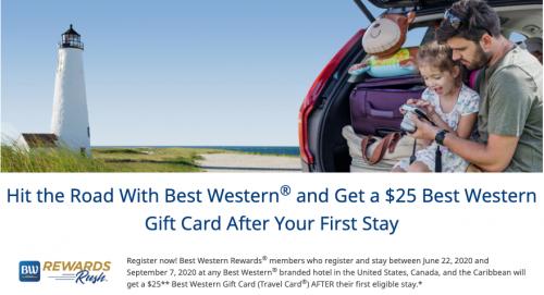 ベストウエスタンリワードカード 最初の宿泊で$ 25のトラベルカードがもらえます。