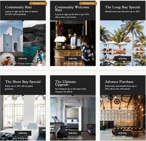 デザインホテルで宿泊料金が30%から40%割引になります。1