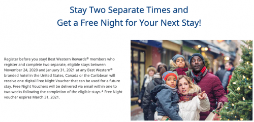 再びベストウエスタンで2回の滞在後に無料宿泊券がもらえるキャンペーン