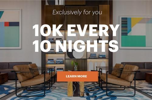 IHGリワードクラブ 10泊ごとに追加の10000ボーナスポイントを獲得できます