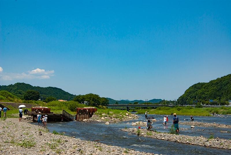 図-1 久慈川には水遊び場がいっぱい