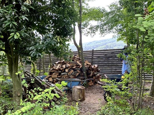 乾燥中の薪の小山
