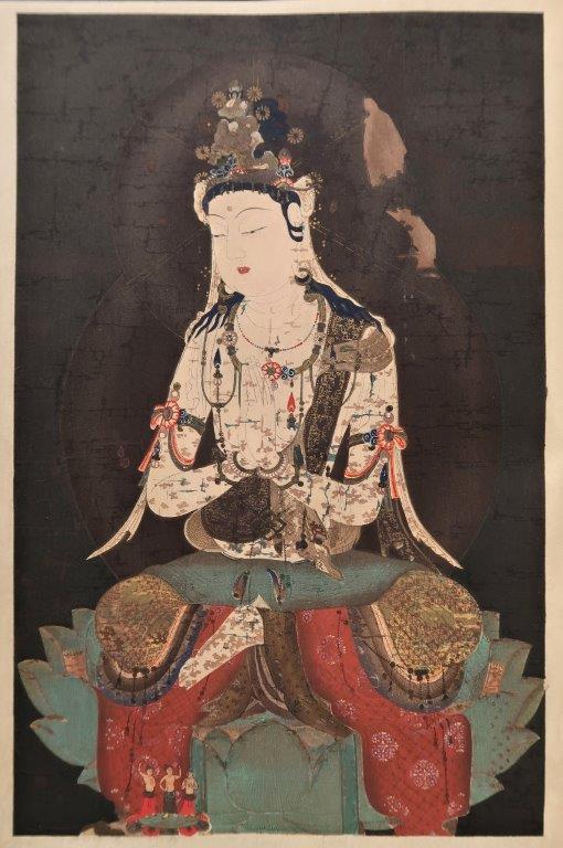 「稿本日本帝國美術略史」多色木版画~東京国立博物館蔵・普賢菩薩画像(国宝・平安時代)