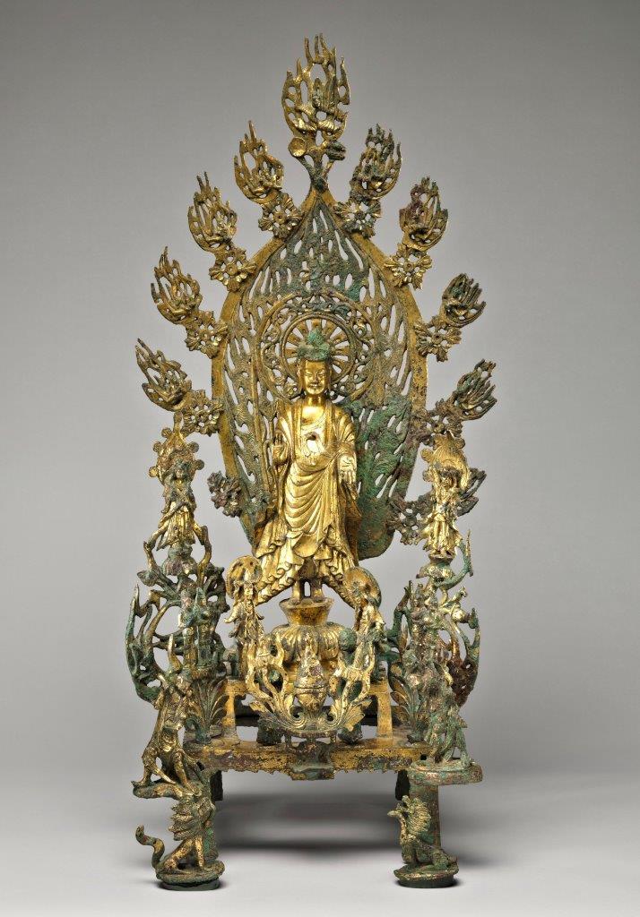 メトロポリタン美術館蔵 北魏正光5年銘・金銅三尊仏像