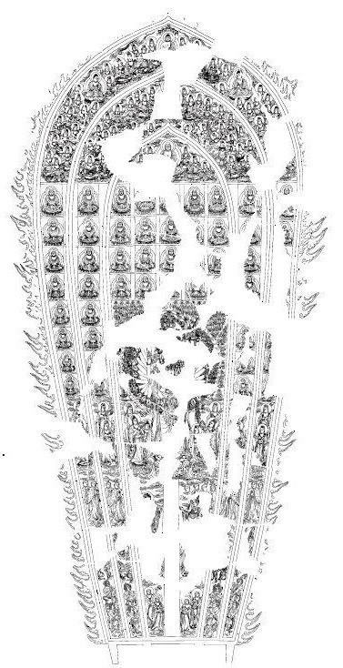 二月堂「大観音」光背の描き起こしトレース図(中神敬子氏作成)