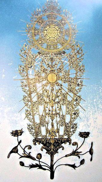 2011年に完成した聖林寺・十一面観音の光背復元想定(池田久美子氏作成)
