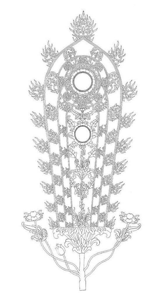 聖林寺・十一面観音光背復元想定図(「日本上代における仏像の荘厳」2005年奈良国立博物館刊掲載)