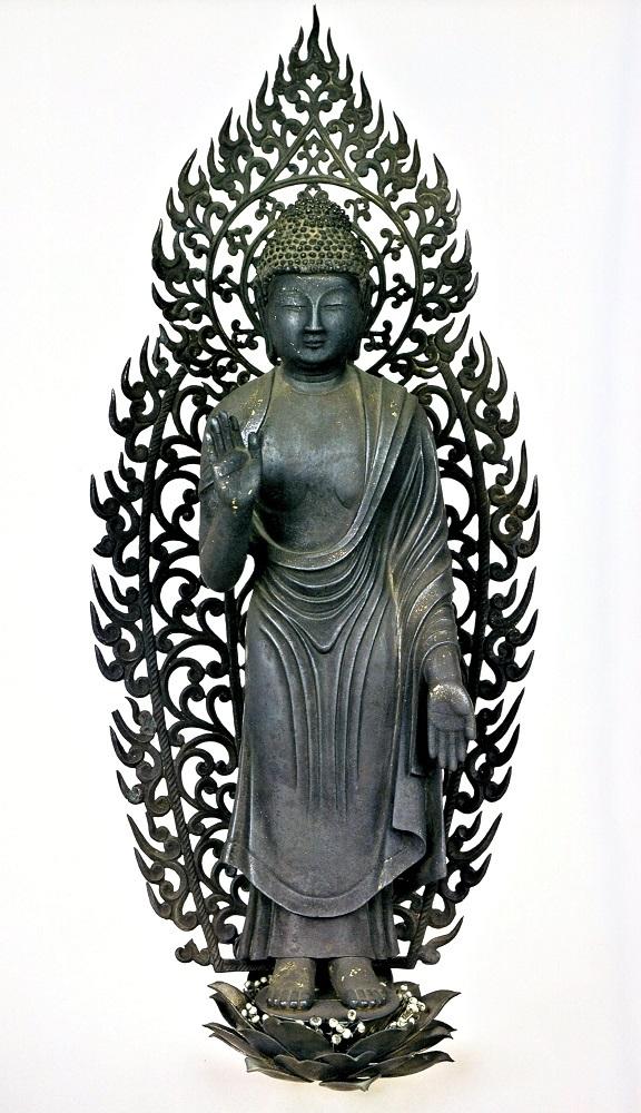 東大寺法華堂・不空羂索観音像の宝冠化仏光背