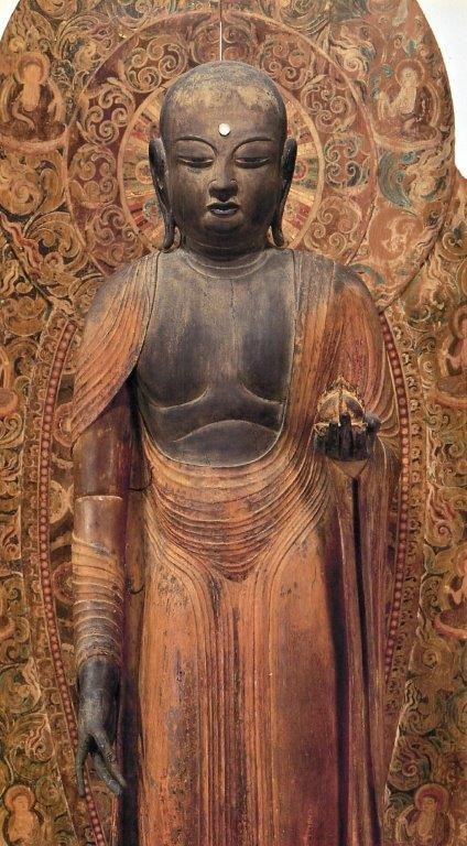 本来の光背(室生寺・地蔵像光背)と組み合わされた安産寺・地蔵像
