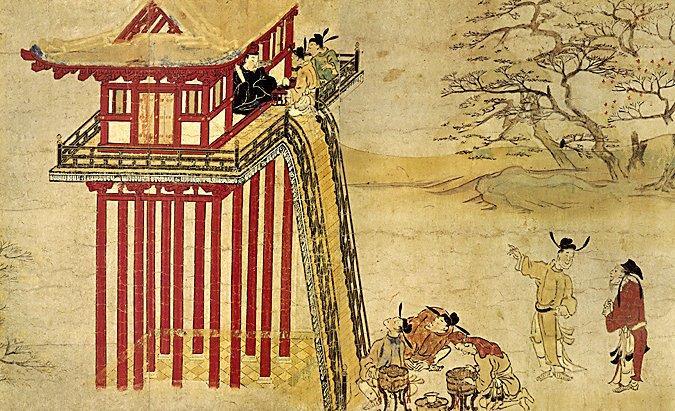 228天龍山石窟⑥:吉備大臣入唐絵詞