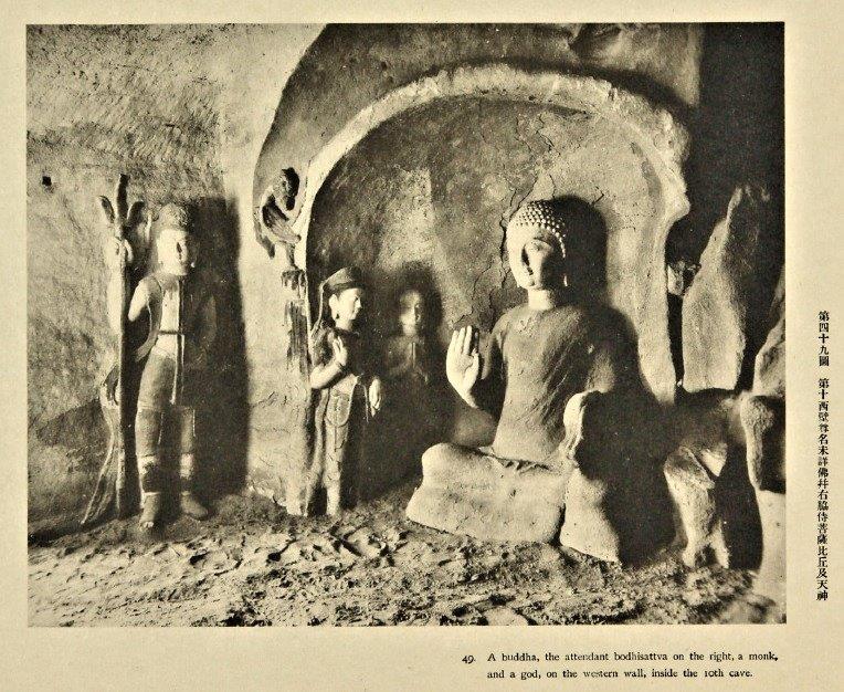 228天龍山石窟⑥:盗鑿前の第10窟西壁(「天龍山石窟」掲載写真)