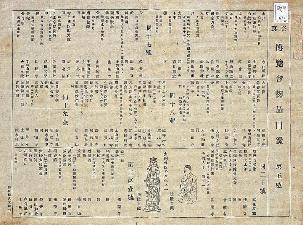 229法隆寺展薬師:第1次奈良博覧会目録