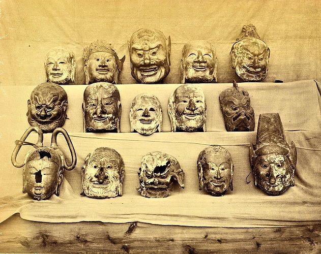 229法隆寺展薬師:奈良博覧会出展時の法隆寺伎楽面古写真