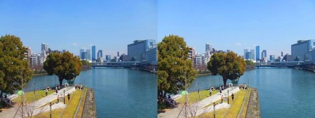 天神橋からの眺望(平行法)