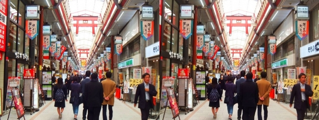 天神橋筋商店街(交差法)