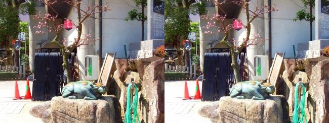 大阪天満宮 青銅牛と梅(平行法)