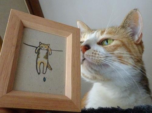 ししゅうねこさんの干され猫の蜜柑
