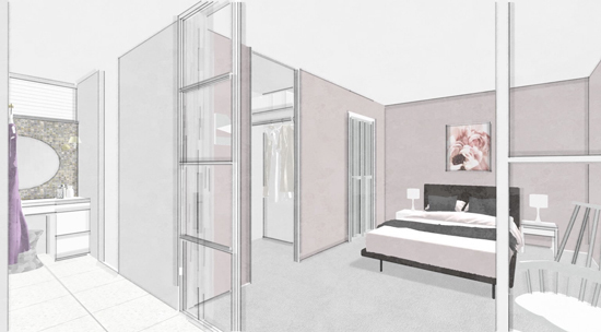 ピンク-ベッドルームパウダールーム