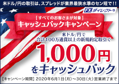 米ドル/円キャッシュバックキャンペーン