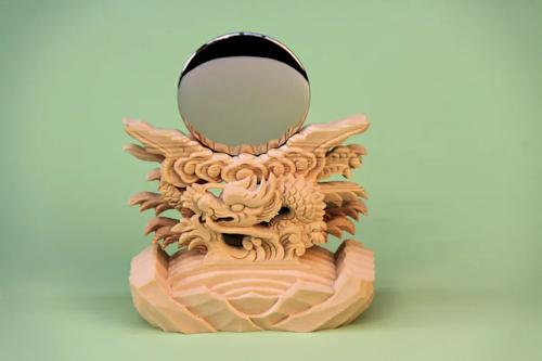神鏡 極上竜彫、雲水彫、竜彫、上彫、雲形、平