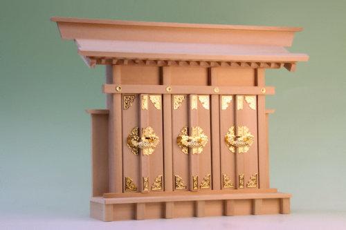 薄型の三社の神棚 出神殿三社 尾州桧