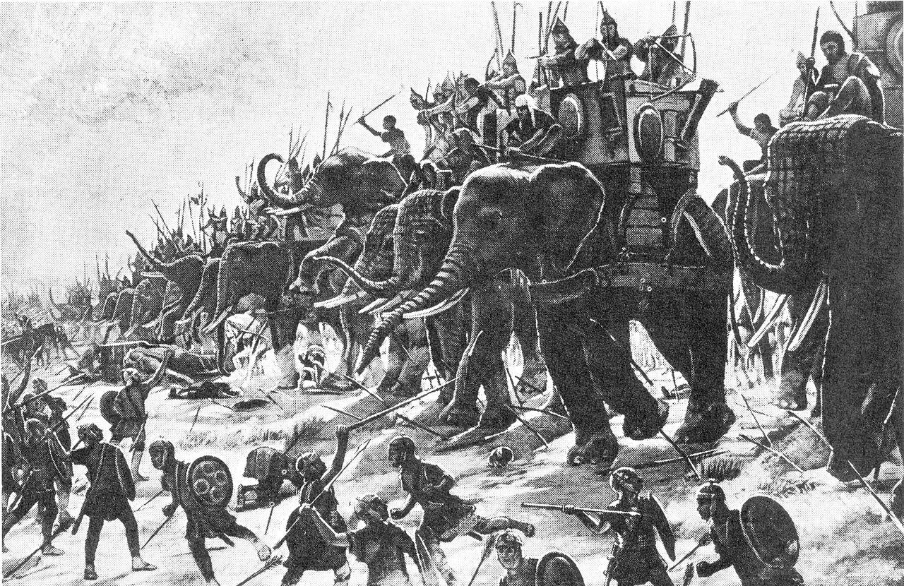 『ザマの戦い』(Henri-Paul Motte, 1890)