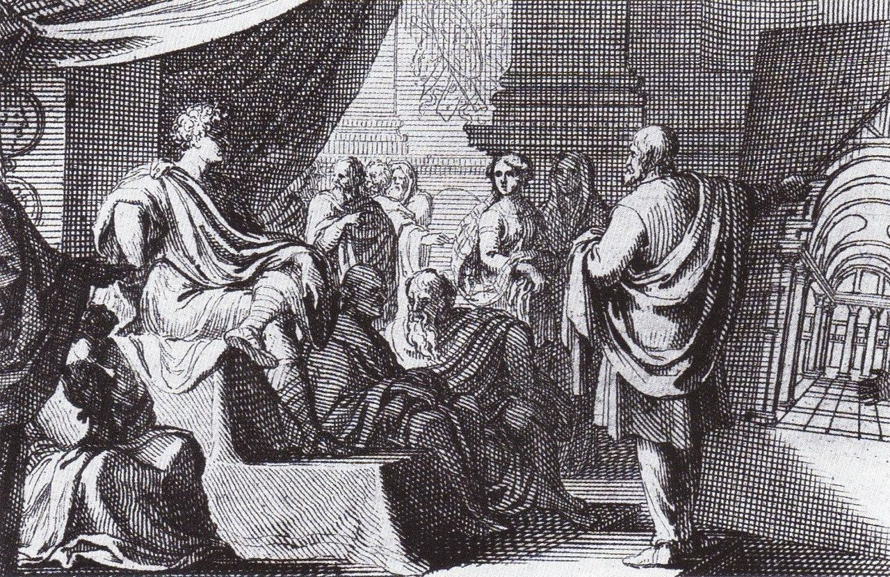 『建築について』をアウグストゥスに披露するウィトルウィウス
