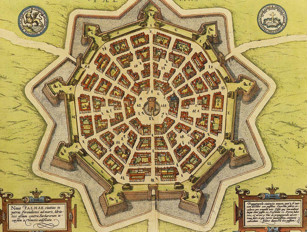 パルマノーヴァ市の17世紀の地図