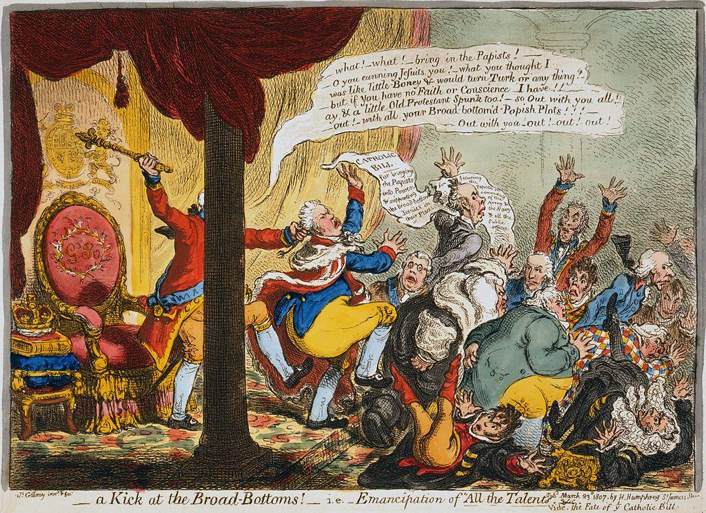ジョージ三世による全人材内閣の罷免を描いたもの(ジェームズ・ギルレイ作)