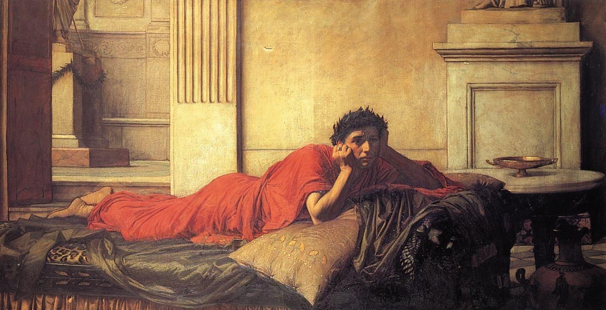 『母の殺害後の皇帝ネロの後悔』 ジョン・ウィリアム・ウォーターハウス(1878年)